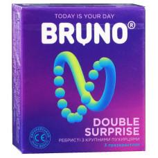 Презервативы Bruno 3шт Double Surprise большие точки и ребра