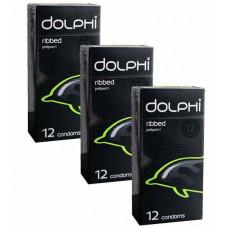 Презервативы Dolphi Ribbed ребристые №36 (3 пачки по 12 шт)