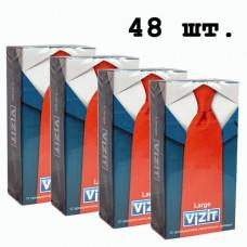 Блок презервативов VIZIT №48 Large Увеличенного размера (4 пачки по 12 шт)