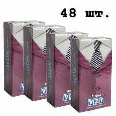 Блок презервативов VIZIT №48 Ribbed С кольцами (4 пачки по 12 шт)