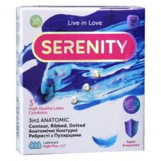 Презервативы Serenity 3in1 Anatomic анатомические точки и рёбра 3шт
